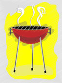 BBQ scribble sketchy retro ad style vector illustration — Stock Vector