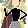 Beatnik woman holding coffee cup abstract shapes — Stock Vector