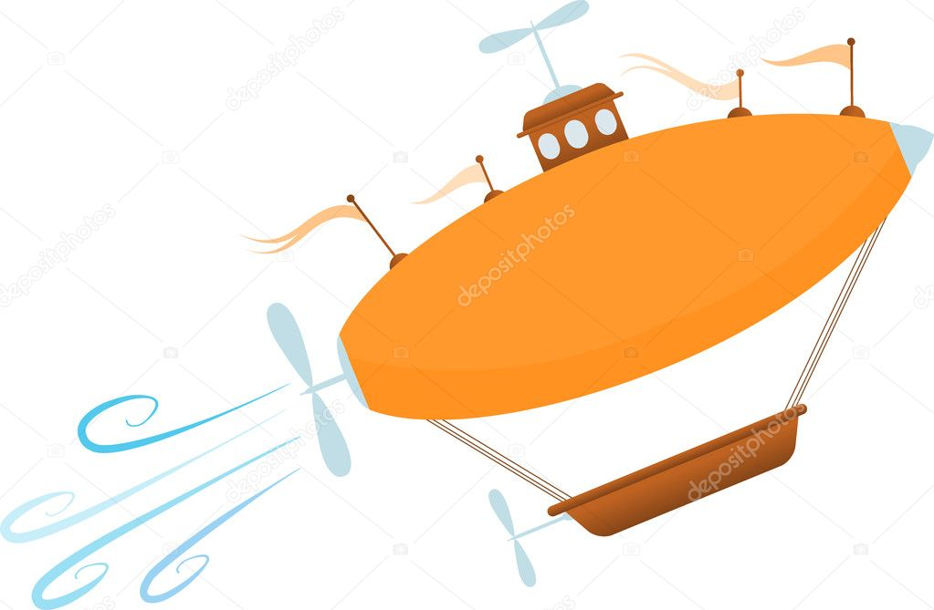 Accented by multiple multiple propellers and flags blimp like airship rises angled upwards gushes gushes of wind, editable vector illustration — Stock Vector #5135413