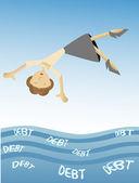 Woman falling into sea of debt — Stock Vector