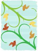 Aves em talos texto inclinado amigável wildlife surreal fundo — Vetorial Stock