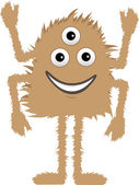 Brown Furry Monster three eyes four arms smiling — Stock Vector