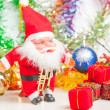 Christmas greeting Santa with gifts — Stock Photo