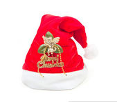Traditional santa claus hat on white background — Foto Stock