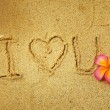 """I Love you"" in the sand — Stockfoto"
