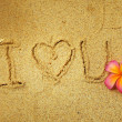 """I Love you"" in the sand — Stock fotografie"