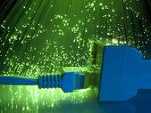 Câble de verrouillage et réseau avec fond optique de fibre — Photo