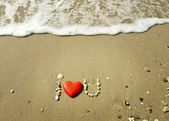 """I Love you"" in the sand — Photo"