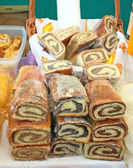 Three local variants of nut roll in Croatia — Stock Photo