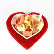 Pasta in form of hearts — Stock Photo