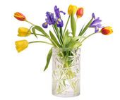 Bouquet of tulips and irises — Stock Photo