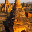 Bagan at sunset in Myanmar - Stock Photo