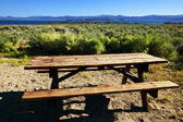 Table on picnic place — Stock Photo
