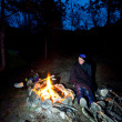 Men near campfire — Stock Photo