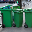 Three plastic garbage tanks - Foto Stock