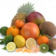 Set of citrus and tropical fruits on white background — Stock Photo