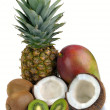 Set of tropical fruits — Foto Stock