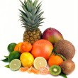 Set of citrus and tropical fruits — Stock Photo