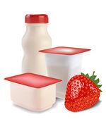 Yogurt and strawberries — Stock Vector