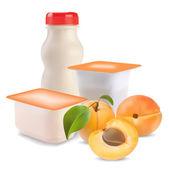 Yogurt and apricot — Stock Vector