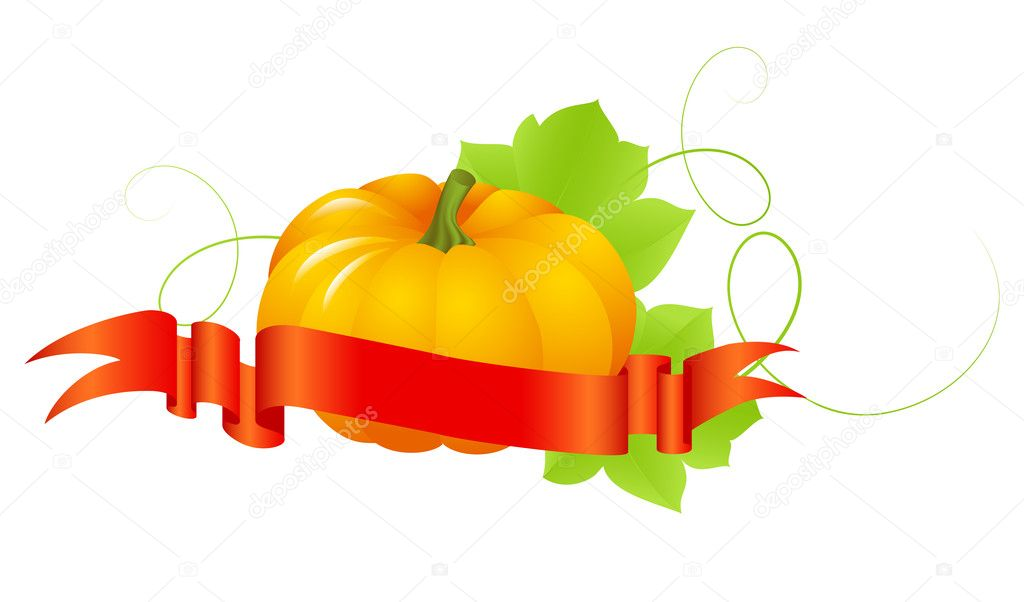 Halloween pumpkin isolated on a white. Vector illustration. — Stock Vector #3958030