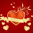 Постер, плакат: Red heart with small hearts environment