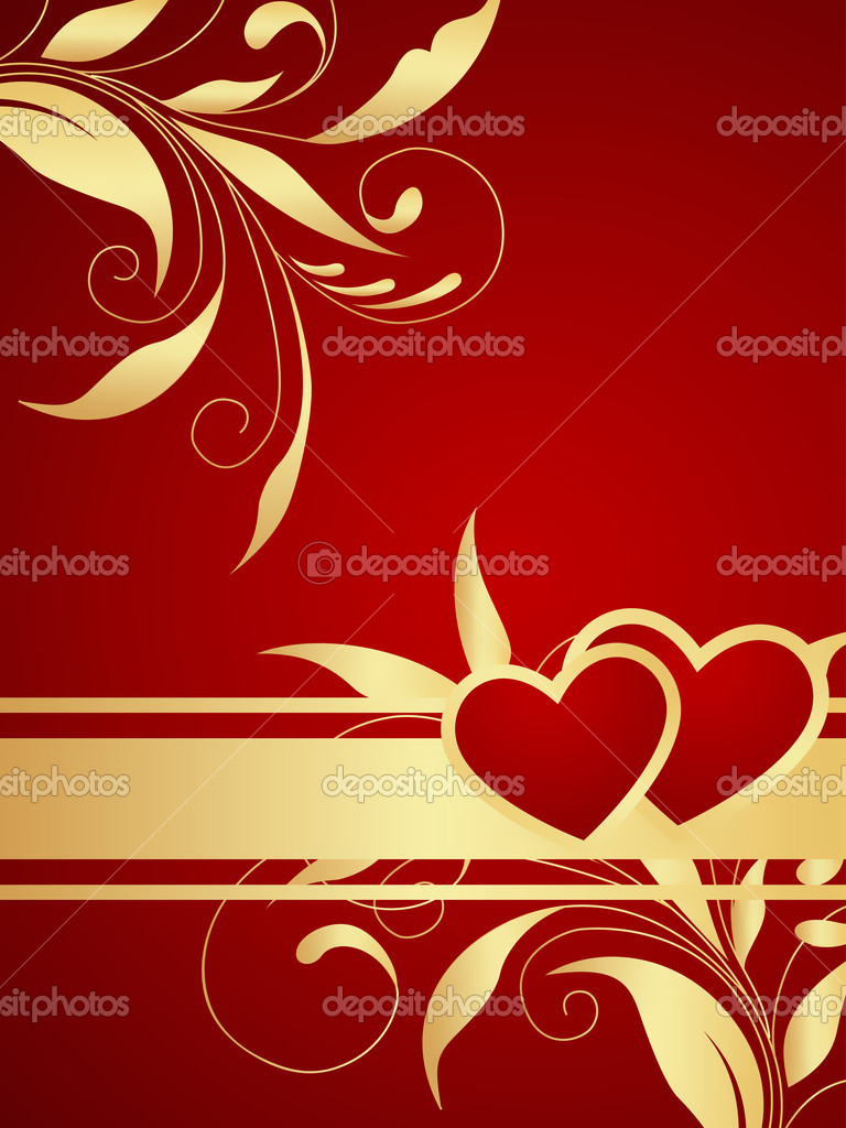 Red vector Valentine background. Floral branch pattern. — Stock Vector #4471396