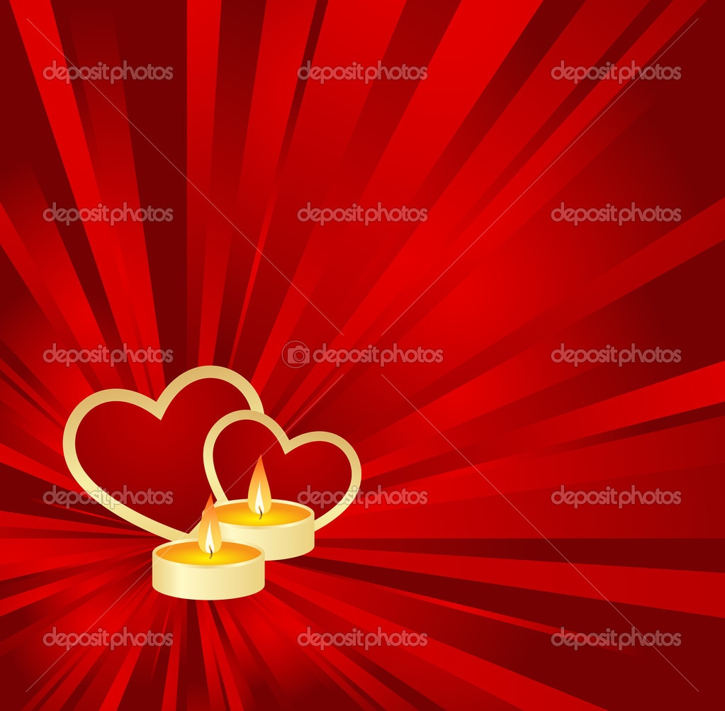 Red Valentine background with golden hearts and candle. Vector illustration. — Stock Vector #4678110