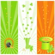 Ireland national colored banners with st. patrick day's symbols — Stock Vector