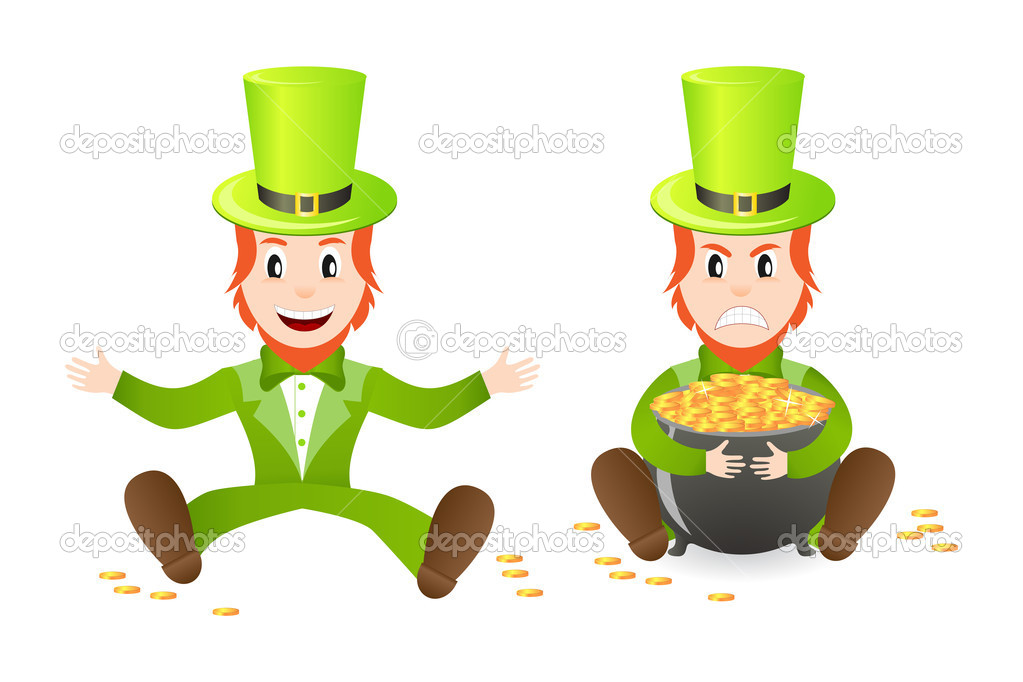 Cheerful and angry leprechauns with treasure isolated on white background — Stock Vector #4989069