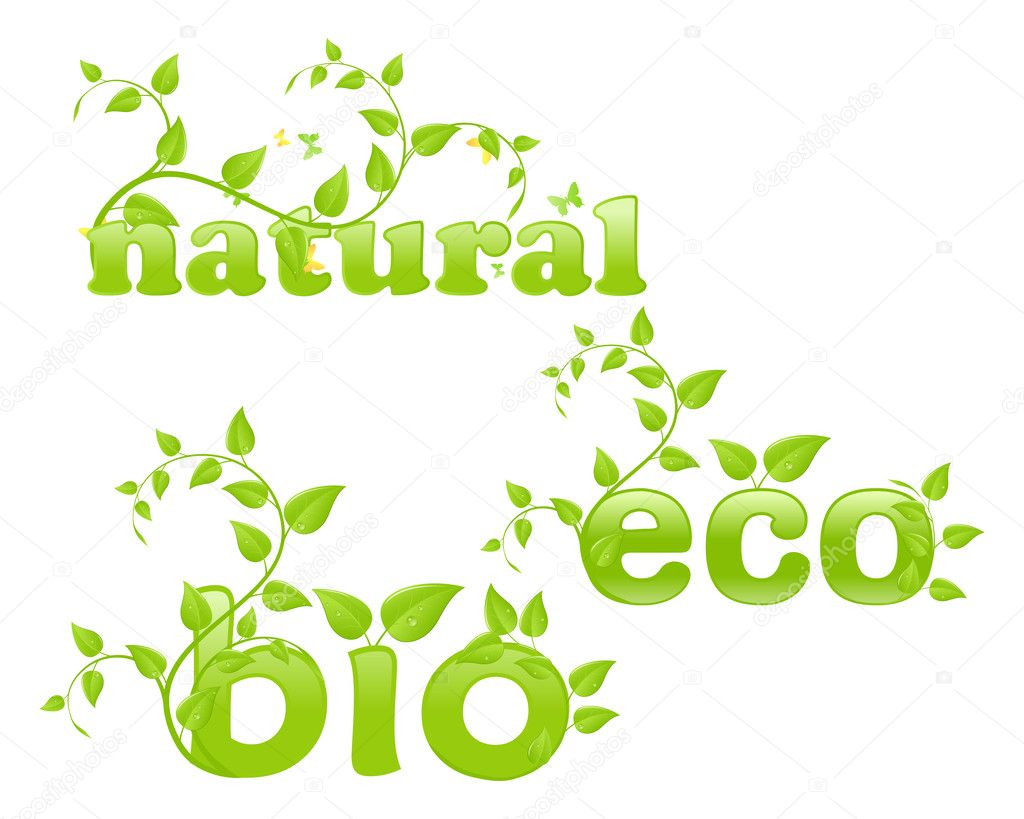 Figurative eco concept, words with floral ornament. Vector illustration, isolated on a white.  Stock Vector #5132737