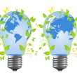 Power saving bulbs - a planet. — Stock Vector