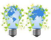 Power saving bulbs - a planet. — Stok Vektör