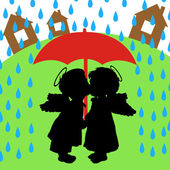 Love and rain — Stock Vector