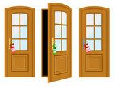 Door and inscription — Stock Vector