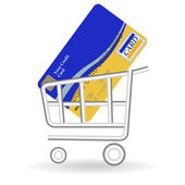 Credit card and handcart — Stock Vector