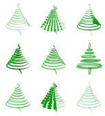 Set of green firs — Stock Vector