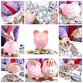 Businessman with a pig bank — Stock Photo