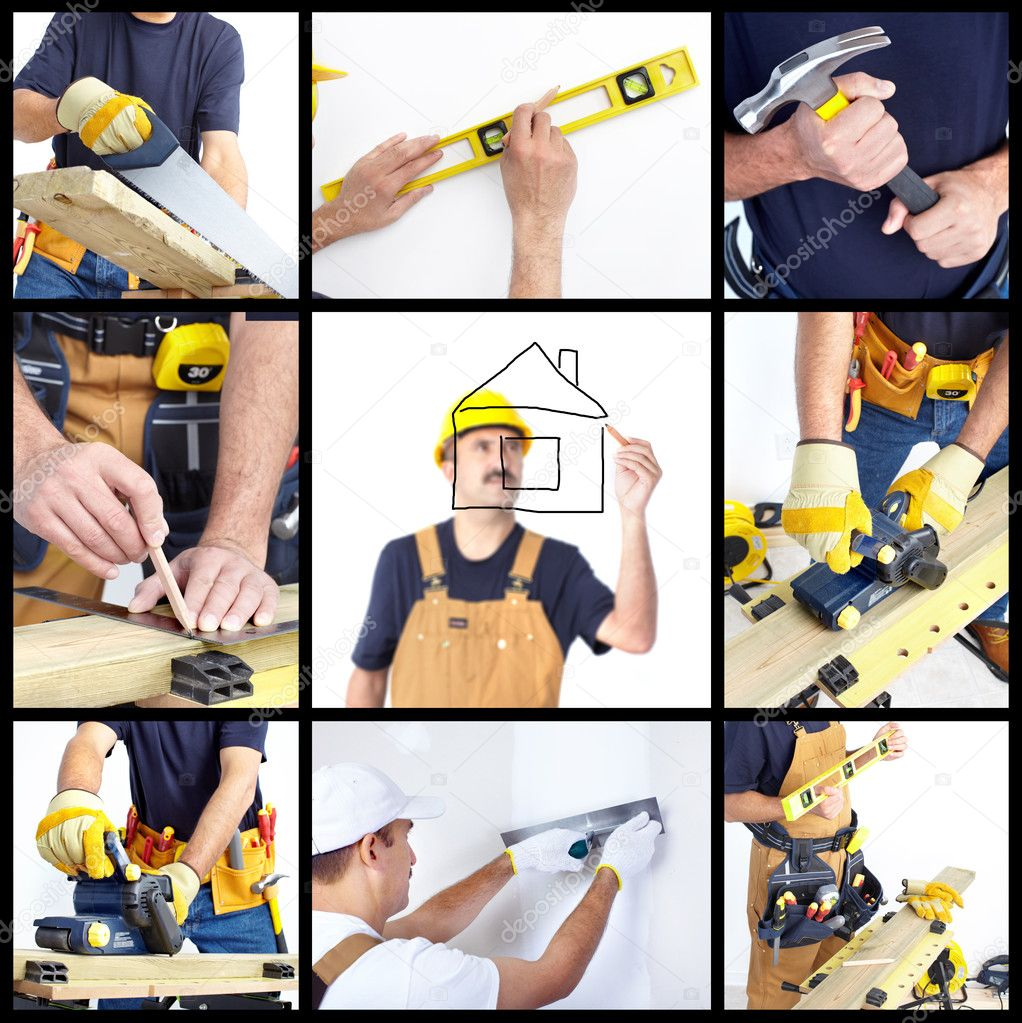 Mature contractor working. Over white background. Worker — Stock Photo #4552065