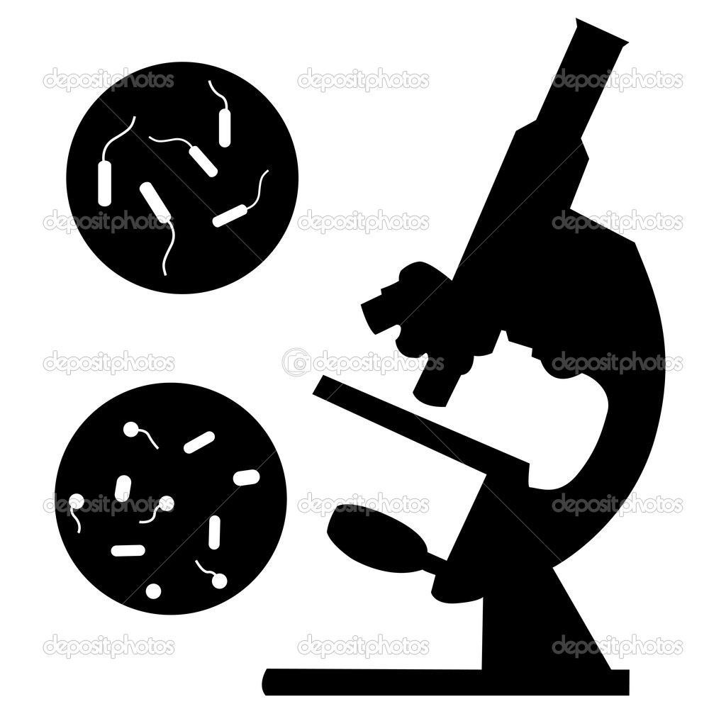 Black medical microscope and bacterium on a white background — Stock Vector #4775038