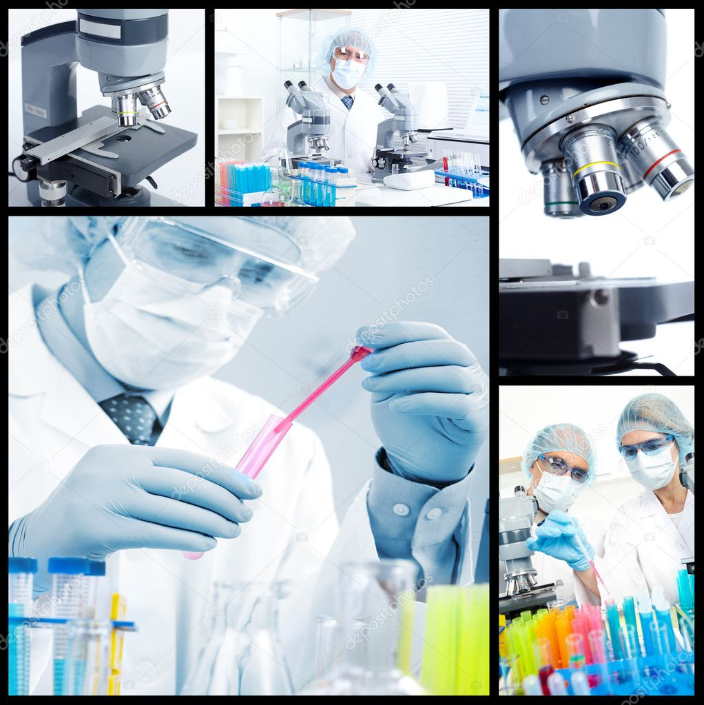 Science team working with microscopes in a laboratory — Stock Photo #4933590