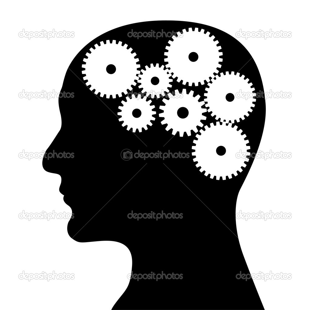Head and mechanism on a white background — Stock Vector #4933891