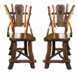 Stok fotoğraf: Old antique wooden handwork chairs isolated over white