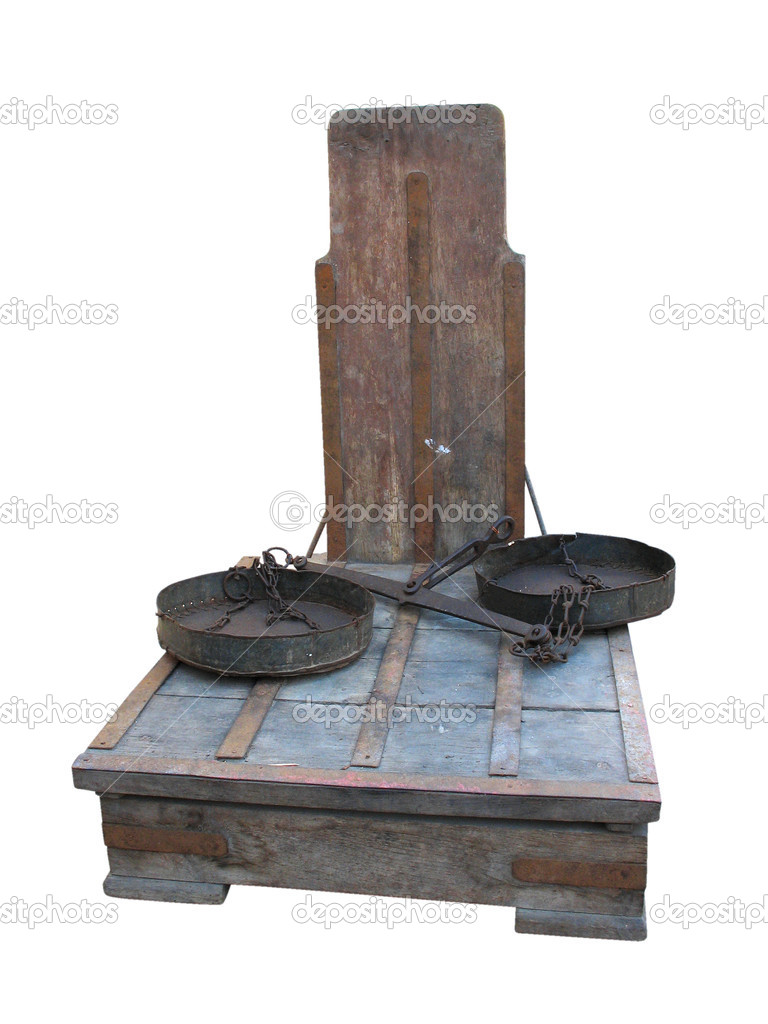 Antique rusty big weight scales isolated over white background