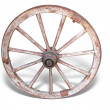 Antique Cart Wheel made of wood and iron-lined, isolated — Stock Photo #4133521