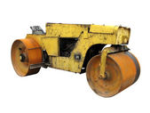 Old rusty yellow road roller isolated over white — Stock Photo