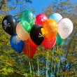 Group of colorful celebration birthday party balloons — Stock Photo