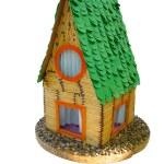 Decorative breadboard wooden house model isolated — Stock Photo