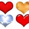 Set of red,gold,silver and glass valentine hearts over white — Foto Stock