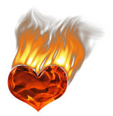 Red burning heart with flames and smoke over white — Stock Photo